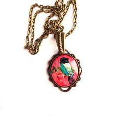 Retro Vintage Sparkling Blue sparrow Bird Pink Cameo Charm / Antique Gold chain- Spring Summer Love Statement necklace