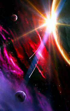 "space art, sci fi, nebula, cosmos, planets. Stars. ""Blind Silencia"""