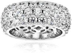 7992a1bfdbb Amazon.com  Swarovski Zirconia 3 Row Pave Round Cut Ring  Jewelry