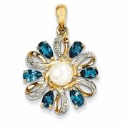London Blue Topaz, Diamond and Freshwater Pearl Flower Pendant