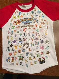 100 Days of School Pokemon shirt. Made with homemade graphic, iron-on transfer, & 100 stickers!