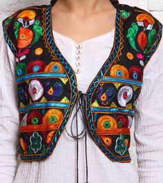 Multicoloured Kutch Embroidered Mushroom Silk Jacket