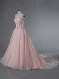 カラードレス Aライン ピンク ハートネック サテン オーガンジー 花モチーフ サイズオーダー LD1802