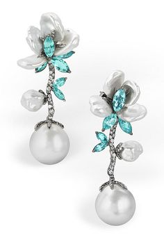 Brides.com: . 18k white gold earrings with paraiba tourmalines, south sea pearls, south sea keshi pearls, and diamonds, price on request, Arunashi
