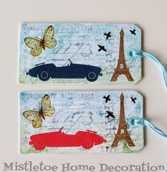 French style tag with Eiffel tower, sport car, butterfly and birds...