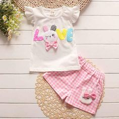 2018 toddler children summer baby girls clothing sets cartoon casual suit plaid clothes set white t shirt+short pants sleeveless Summer Baby, Summer Girls, Kids Girls, Baby Girls, Toddler Girls, Summer Set, Infant Toddler, Baby Boy, Cartoon Outfits