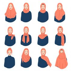 Set of woman wear hijab trendy style. va... | Premium Vector #Freepik #vector #woman Cute Muslim Couples, Muslim Girls, Muslim Women, Girl Cartoon, Cute Cartoon, Cartoon Art, Hijab Drawing, Mode Turban, Hijab Style Tutorial