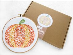 Thanks Giving Embroidery Kit, Pumpkin Hoop Art, DIY Thanks Giving Gift, Beginners Embroidery Kit, Easy Needlework, Learn To Embroider, Craft