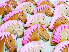 Horse Cookies Pony Cookies Pink Mane Horse Cookies Sugared Cookies and Sweets Inc Horse Birthday Parties, Cowgirl Birthday, Horse Birthday Cakes, 7th Birthday, Pony Party, Horse Cookies, Birthday Cookies, Valentine Cookies, Easter Cookies