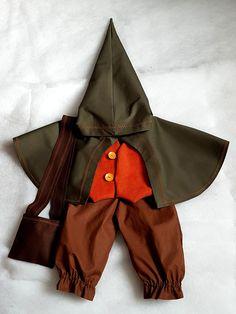 Costume Hobbit PRONTO SPEDIZIONE bimbo 2 anni, elegante costume Halloween Signore degli anelli Elfo Troll Bilbo Frodo Gnomo nozze Medioevali