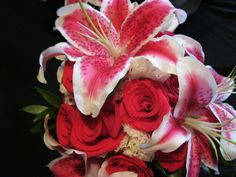 Stargazer and hot pink rose bridal bouquet