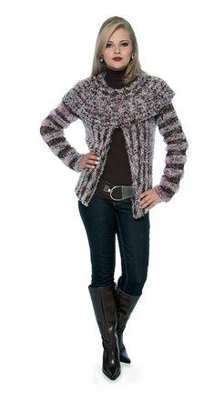 #Blusa gola ampla marrom e rosa - Cisne Remix #receita #tricô #Moda #Inverno #CoatsCorrente