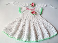 Crochet Baby Dress Newborn dresses white green by ROSSIBOUTIQUE