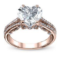 2.5ct. natural diamond heart shape split shank u-prong designer verragio natural diamond wedding set 18k rose gold gia