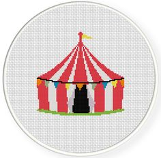 Stitch Carnival Tent PDF Cross Stitch Pattern Needlecraft    circus gsc