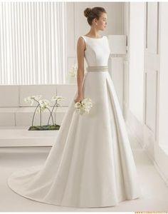 A-linie Exklusive Ausgefallene Brautkleider aus Satin mit Perlesntickerei
