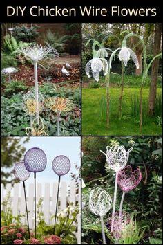 Chicken Wire Art, Chicken Wire Crafts, Chicken Wire Sculpture Diy, Diy Garden Projects, Garden Crafts, Garden Ideas, Wire Flowers, Metal Garden Art, Metal Art