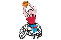 Wheelchair Basketball Player Shootin - Illustrations - . Illustration of a wheelchair basketball player shooting ball viewed from front set on isolated white background done in cartoon style.The zipped file includes editable vector EPS, hi-res JPG and PNG image. #illustration #WheelchairBasketball