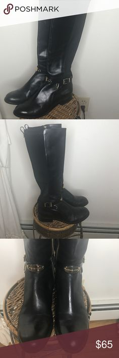 Authentic Michael Kors Black Boots Size 7 1/2 100% Authentic Michael Kors Black Riding Boots Size 7 1/2. In great shape. Lightly worn, look new! They have a gold Michael Kors plate on the front and have gold hardware for the zippers. They are PERFECT for the Fall Season coming up! Michael Kors Shoes Combat & Moto Boots