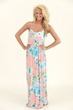 Do You Play Croquet Maxi Dress-Coral