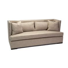 @Overstock -VERY SIMILAR TO THE BANKETTE I'D LIKE Materials: Wood, fabric Finish: Espresso Upholstery materials: 60-percent polyester/40-percent linen http://www.overstock.com/Home-Garden/JAR-Designs-The-Constantine-Silver-Sofa/6287313/product.html?CID=214117 $1,385.99