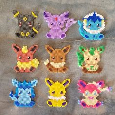 _DESCRIPTION_ Evoli and her friends may seem a bit shy at first sight - Pyssla Pokemon, Hama Beads Pokemon, Diy Perler Beads, Perler Bead Art, Hama Beads Kawaii, Pearler Beads, Perler Bead Designs, Perler Bead Templates, Hama Beads Design