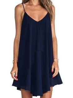 Chicnico Navy Cross Backless Cami Dress Mini Dress