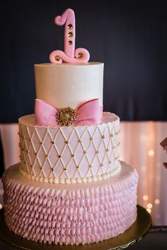 Pink ribbon with gold accent 1st birthday cake
