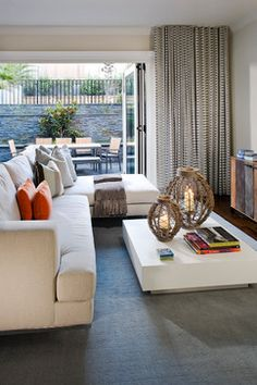 indoor/outdoor- love the doors Noe Valley Residence - contemporary - family room - san francisco - Green Couch Interior Design Decor, Staging Furniture, Floor To Ceiling Curtains, Relaxation Room, Furniture, Contemporary Family Rooms, Rugs In Living Room, Interior Design, Home Decor