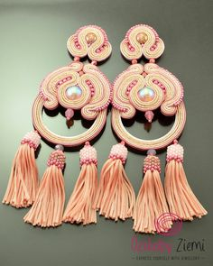 Very long peach and pink statement soutache earrings with