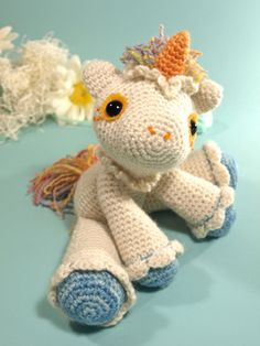 Children's Toy Doll-Softies-Animal Hermione The Unicorn by Dawn Toussaint FREE Pattern @ Ravelry