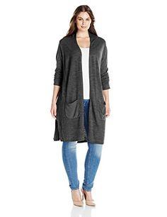 60d13424fc9e47 Sag Harbor Women s Plus-Size Open Duster Cardigan Cashmerlon Sweater