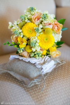 Bright, elegant - yellow and peach wedding bouquet.   // Rustic vintage chic wedding with a dose of Southern hospitality - grey and yellow theme. #Memphis #Wedding Photography by Amy Hutchinson Photography. Venue: Heartwood Hall // Floral: Holliday Flowers // Event designer: Gerald and Joan Design // Invitations: One Little M // Wedding Gown: Sottero and Midgley // Wedding Cake: Cakes by Mom and Me