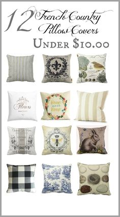 12 French Country Pillow Covers Under 10 Perfect for a budget French Country Kitchens, French Country Bedrooms, French Country Living Room, French Country Farmhouse, French Country Style, French Cottage, French Country Fabric, French Country Crafts, French Country Interiors
