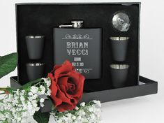 4 Personalized Groomsmen Gift Engraved Flask by JourneyProductions, $88.00
