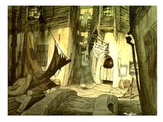 Gustaf Tenggren background illustration for Pinocchio