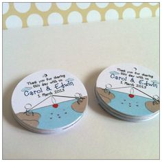 """Fishing Couple wedding gift tags. Do both you and your partner love fishing? These 1.75"""" round tags are for you."""