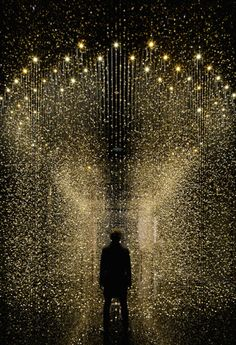 Golden rain drops art installation