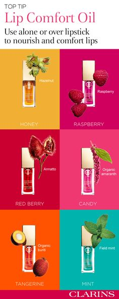 Clarins luxurious Lip Comfort Oil transforms lips from dry and damaged, to plump and luscious-while adding just a hint of lip-sparkling colour. Boasting 7 sumptuous shades—find out why 8 out of 10 women were convinced by the ultra-shiny results. Discover your colour today. #SealedWithAKiss