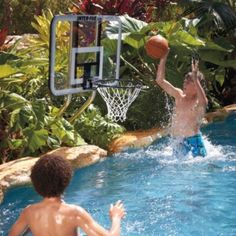 Challenge your friends to fun basketball games while beating the heat in the pool with th On Deck Basketball Set.