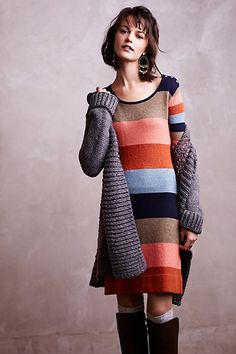 Colorstack Sweater Dress #anthropologie  somehow this mix works. taking note.