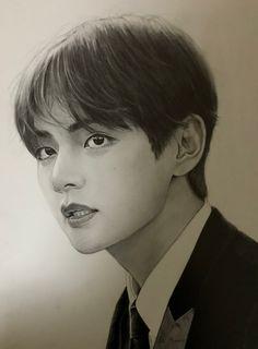 Nashli, si ves esto, maje hacemelo alv :v ❤️, Kpop Drawings, Fan Art, Realistic Drawings, Kpop Fanart, V Taehyung, Bts Photo, Bts Boys, Portrait, K Pop