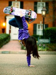 Skateboard Trick and I think its a girl.  Tell your brothers.