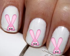20 pc Easter Bunny Hide N Seek Spring Easter Bunny  Nail Art Nail Decals #cg1812na