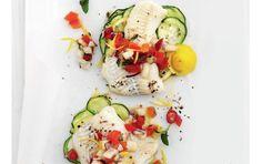 Bagt fisk med tomat-melonsalsa