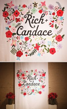 DIY screen printed wedding backdrop - this would be PERFECT behind the head table for toast photos :)