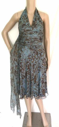 Carmen Marc Valvo Floral 100% Silk Ruched Halter Dress - Size 6- EUC #CarmenMarcValvo #Halterdress #Cocktail