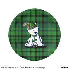 KiniArt Westie St. Paddy's Day Party 7 Inch Paper Plate