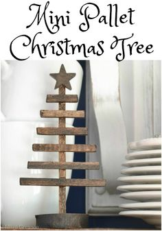 No need to track down pallets and waste time pulling them apart. This mini pallet inspired Christmas tree will be ready to enjoy in minutes. | iamahomemaker.com