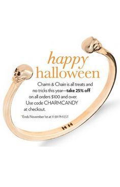 Happy Halloween! Take 25% OFF your order at Charm & Chain! Use Code: CHARMCANDY. Click through for more info.